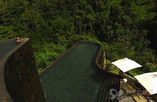 全景泳池:在度假胜地巴厘岛的乌布空中花园