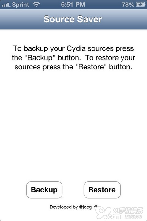 cydia 安装 source saver 点击 source saver 的 恢复 按键 就