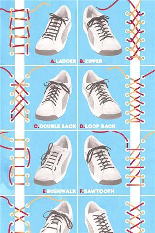 鞋带的24种系法图解 一字鞋带的系法图解